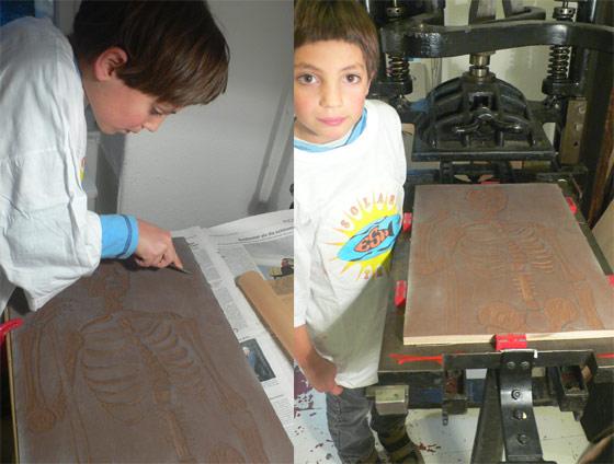 Linolschnitt und Kniehebelpresse
